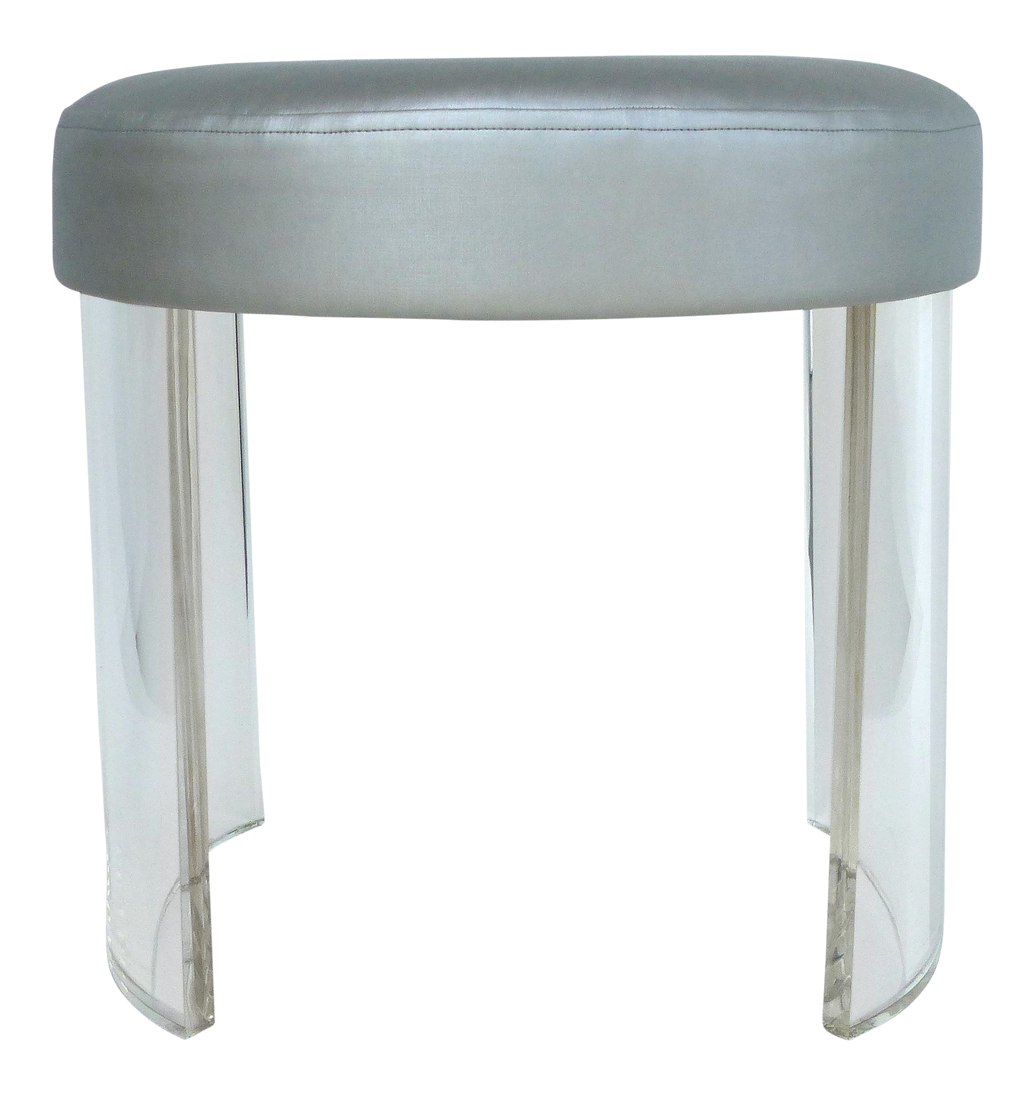 Pleasing Oval Lucite Vanity Stool With A Silver Metallic Upholstered Dailytribune Chair Design For Home Dailytribuneorg