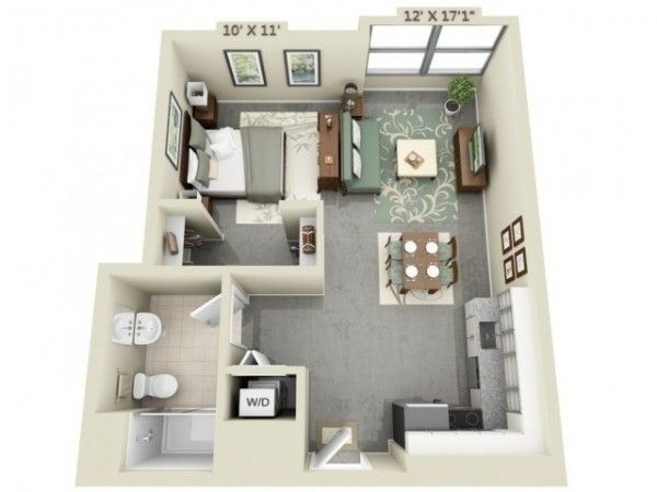 Studio Apartment Floor Plans Tiny INLAW home Pinterest Loft - Apartment House Plans
