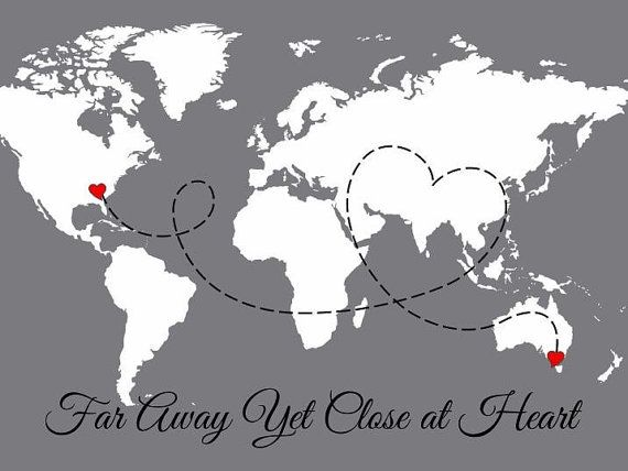 Long Distance Family Map of the World, Personalized Couples