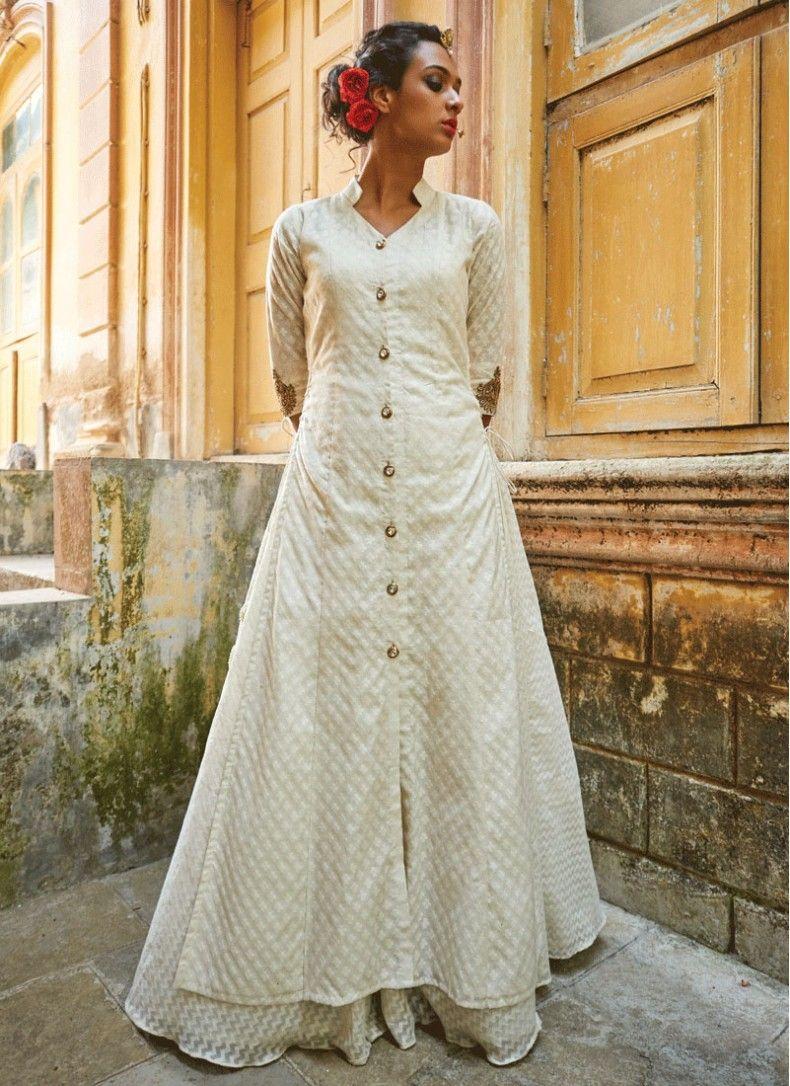 d065cc94b8 Phenomenal Off White Georgette Designer Floor touch Anarkali suit ...
