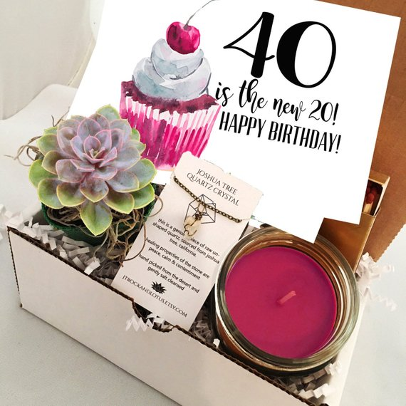 40th Birthday Funny Succulent Gift Box Set Send A Happy Bday For Frie