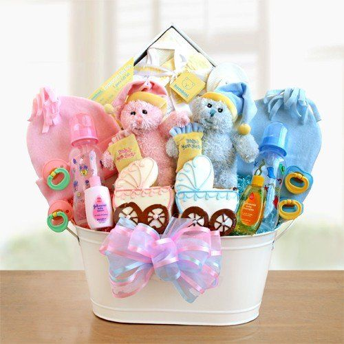Welcome Home Twins! Classic Gift Basket For Baby Twins