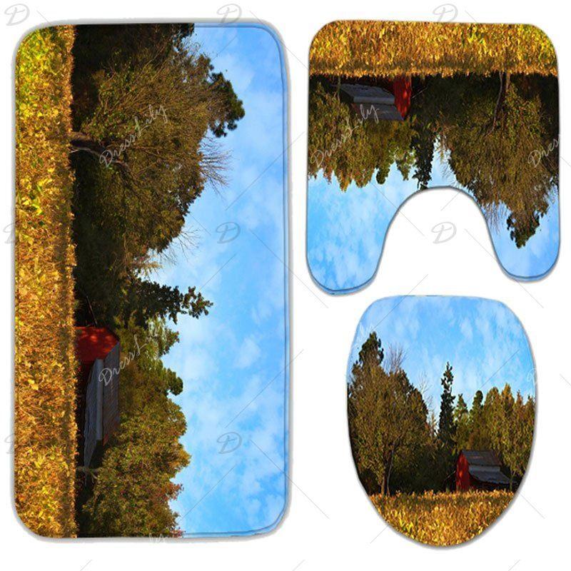 3Pcs/Set Autumn Scenery Flannel Bath Toilet Rug #autumnscenery