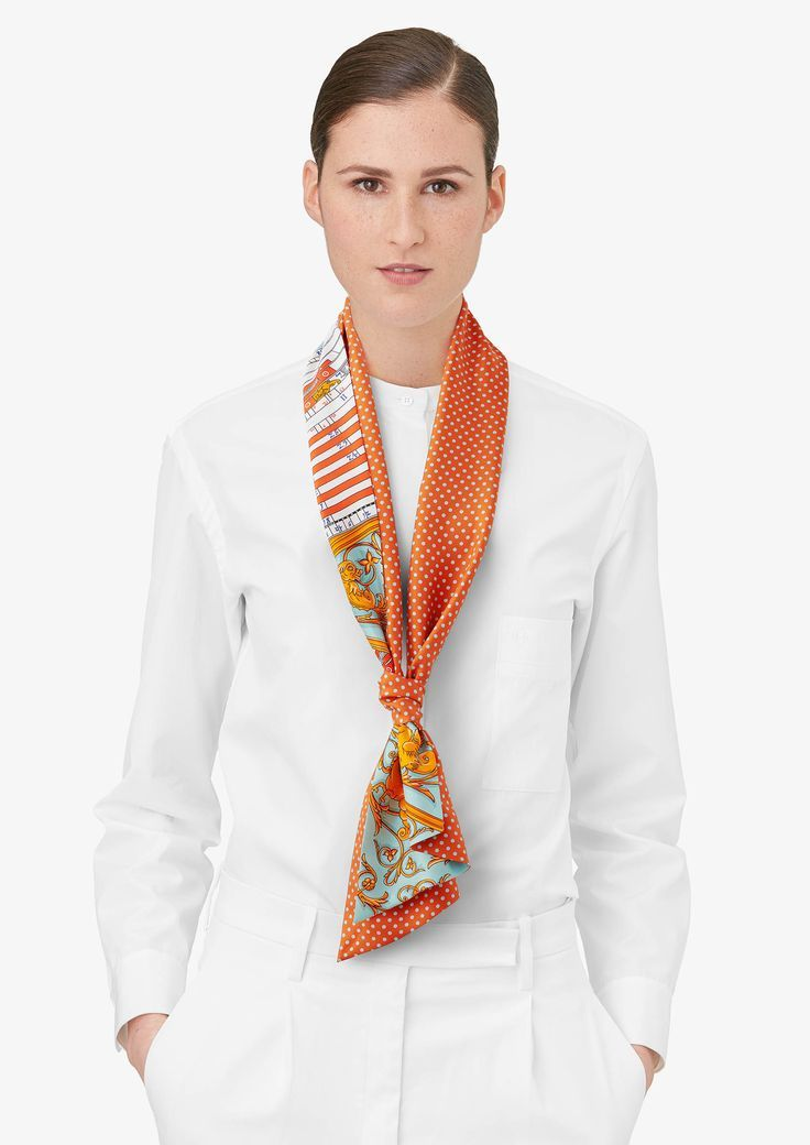Love this orange scarf; How to wear a silk scarf; looped
