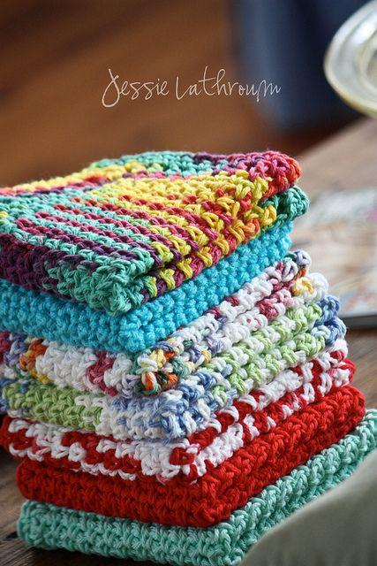 Crochet Dish Cloths | Häkeln, gehäkelte Abwaschlappen und Stricken