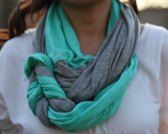 Jersey Braided Infinity Scarf in Gray and Mint