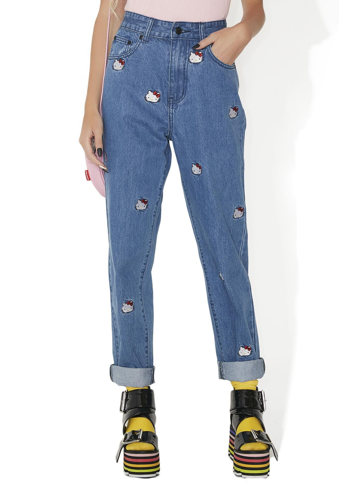 Lazy Oaf Hello Kitty Emb Jeans will show 'em who your favorite kitty is! These jeans feature a medium blue denim construction, a high waisted fit, classikk five pocket design, and lil embroidered Hello Kitty faces all ova.