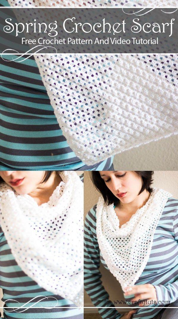Free Crochet Spring Scarf Pattern   *** Beautiful FREE Crochet ...