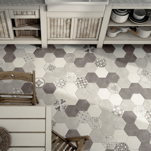Carrelage hexagonal imitation ciment motif mate hexatile for Carrelage hexagonal marbre