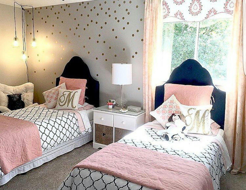 Navy Blush Gold Blue And Pink Bedroom Shared Girls Room Pink Bedroom Decor