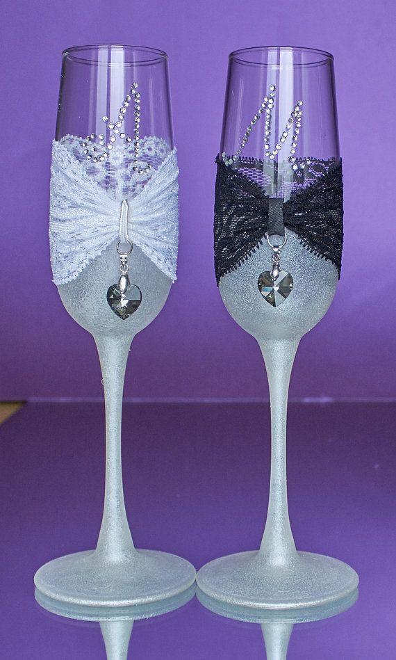 Boda blanco y negro boda copas Champaña flautas Swarovski gafas para ...