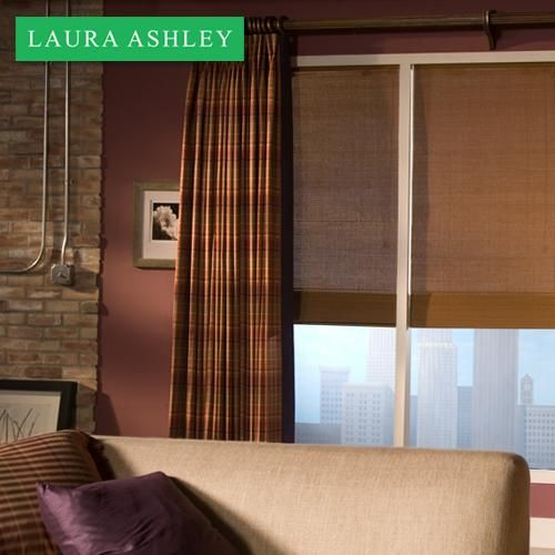 Laura Ashley Natural Woven Wood Shades In Rolling Meadow