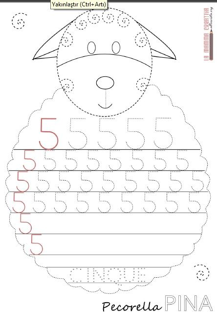 sheep number 5 trace worksheet | Schooling | Pinterest | Zahlen ...