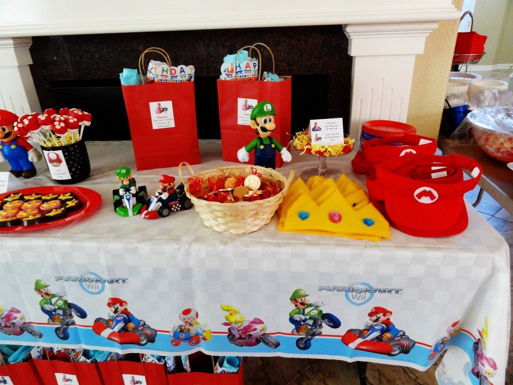 This party featured handmade mario kart accessories m for Homemade birthday decorations for adults