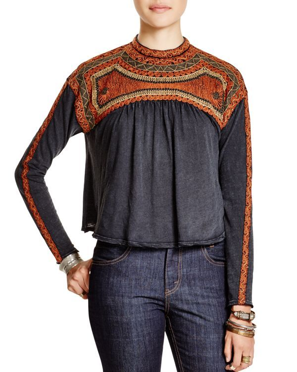 Free People Snow Bunny Embroidered Top