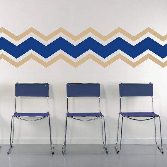 Color Chevron Wall Pattern Large Wall Decal Custom Vinyl Art - Custom vinyl wall decals for classrooms