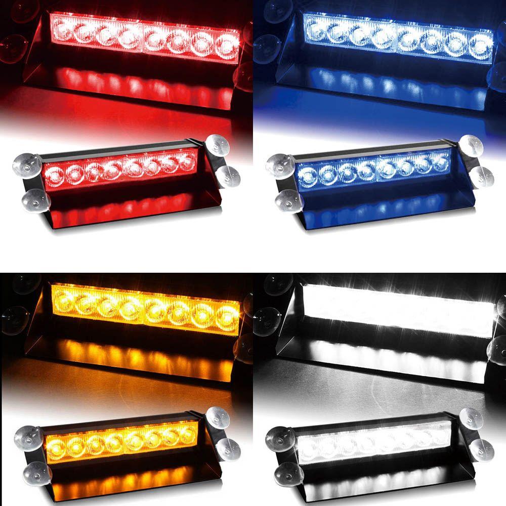 car vechicle led emergency strobe flash warning light 12v 8 led