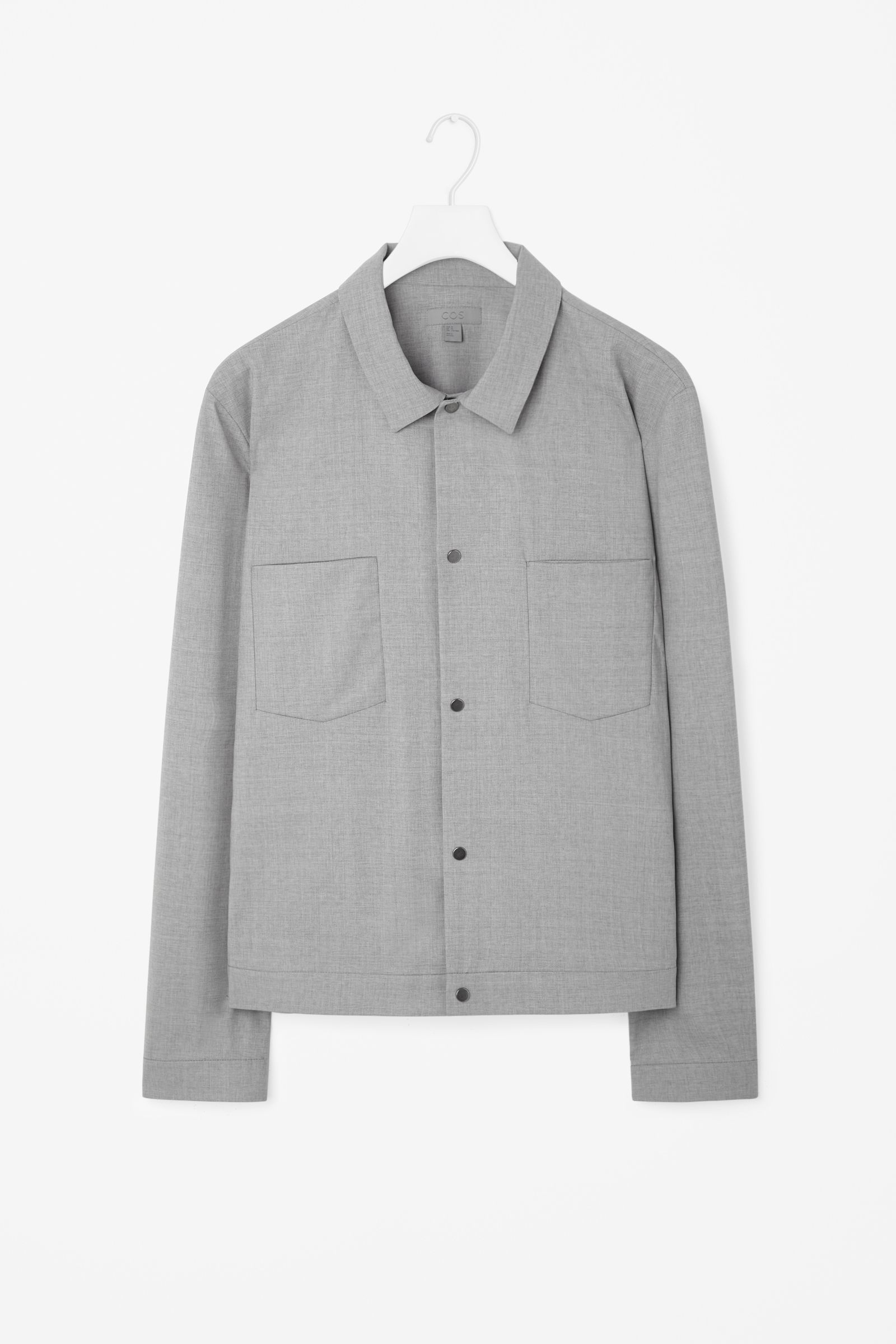 Shirt jacket design - Based On The Shape Of A Shirt This Lightweight Jacket Is Made From Fine Wool Mix A Clean Modern Design It Has A Pointed Collar Flat Chest Pockets And