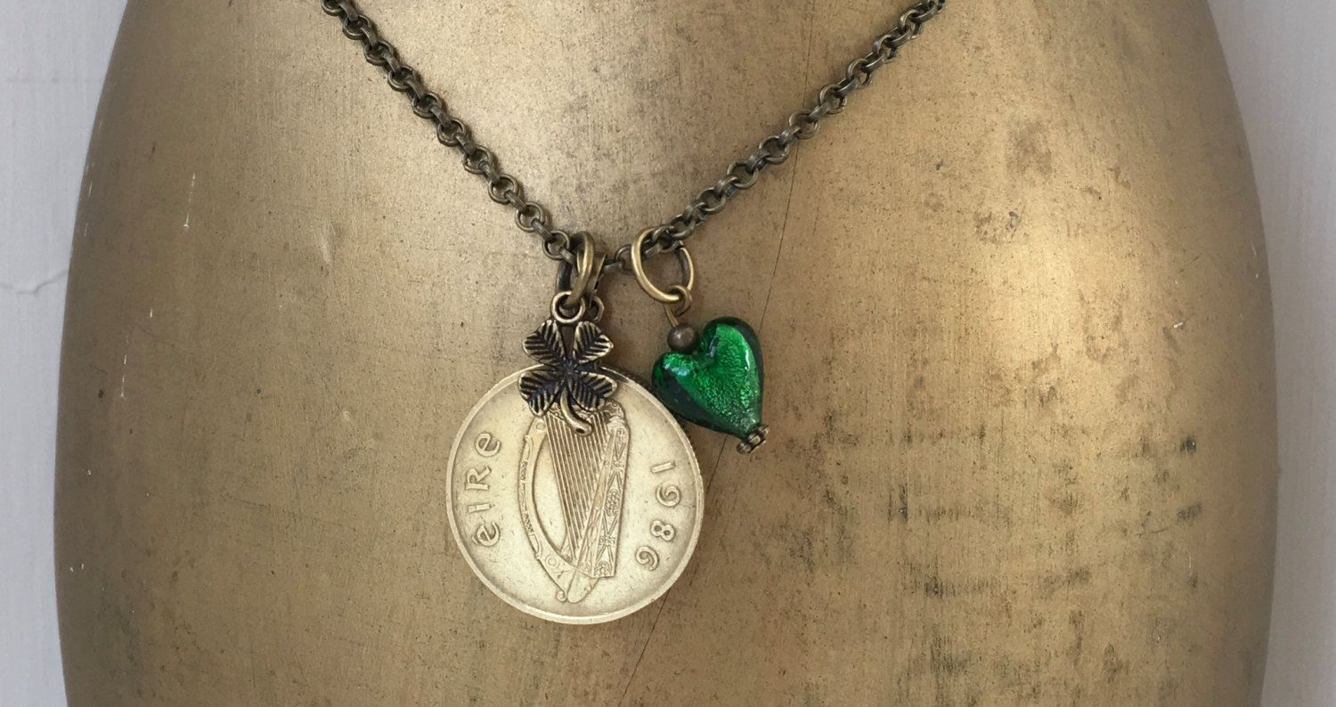 30th birthday gift, 1986 Irish coin necklace, green glass