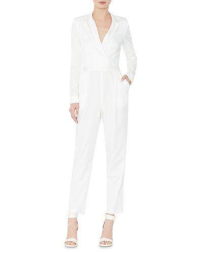 41ba68763f6e TCHJB Alice + Olivia Violetta Long-Sleeve Tuxedo Jumpsuit