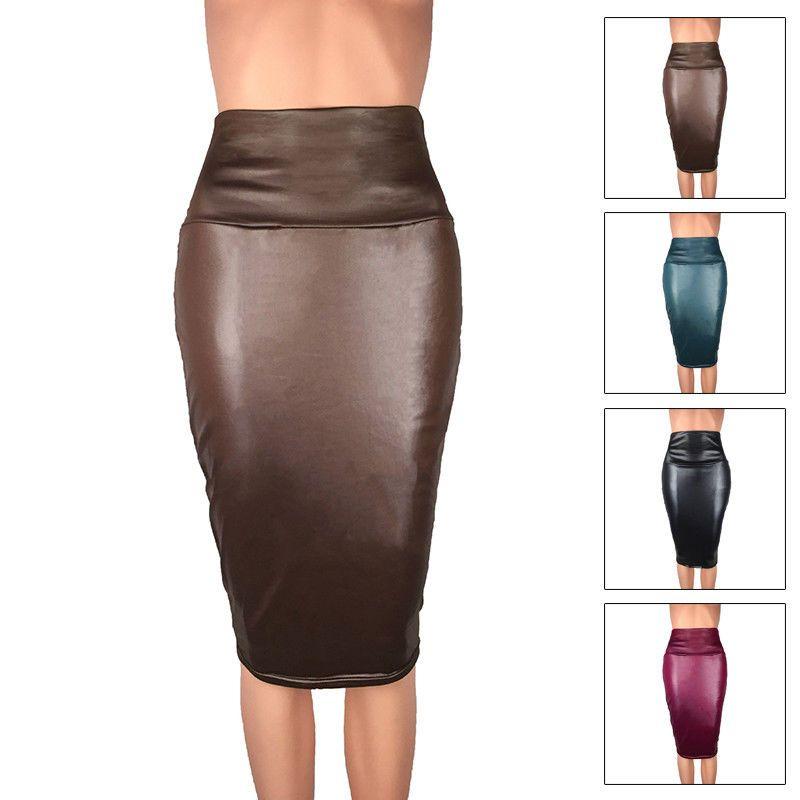 Women Skirt Bodycon Faux Leather High Waist Party Midi