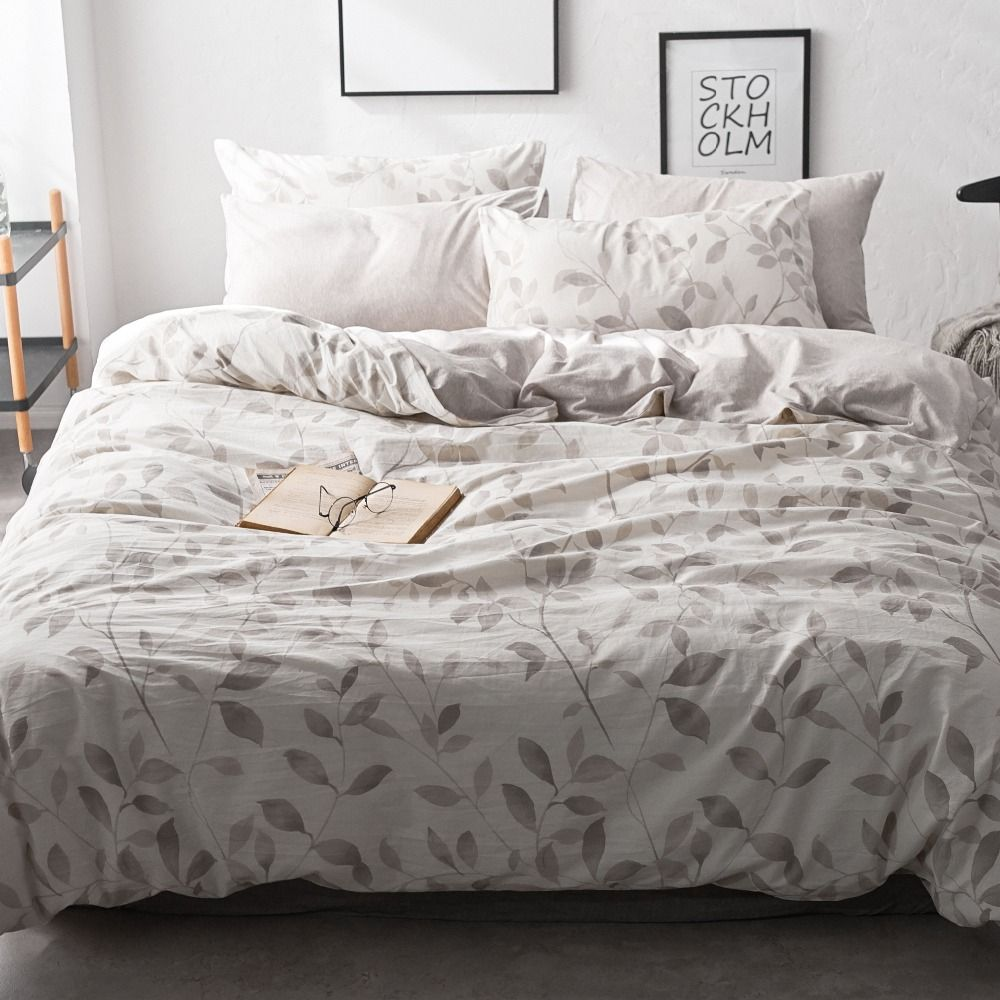 Leaf Bedding Set Washed Cotton Bed Set Modern Queen Beds King Size Bed Sheet Sets Solid Flat Sheet King Quilt Cove Bed Sheet Sets Bedding Sets Modern Queen Bed