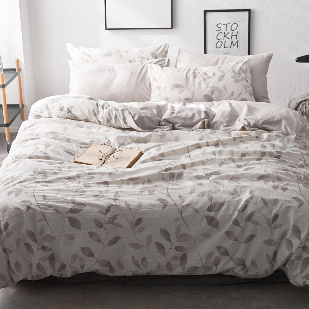 Leaf Bedding Set Washed Cotton Bed Set Modern Queen Beds ...
