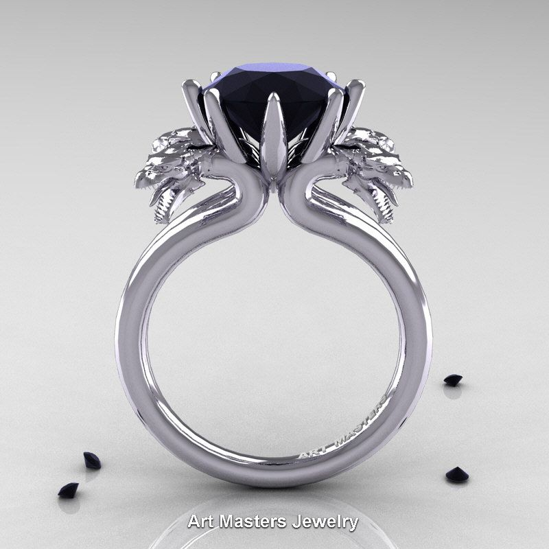 Norwegian 14K White Gold 3.0 Carat Black Diamond Dragon Engagement Ring R901-14KWGBD | Art Masters Jewelry
