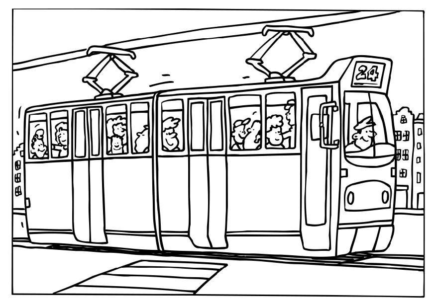 kleurplaat de tram kleurplaten kleuren vervoer