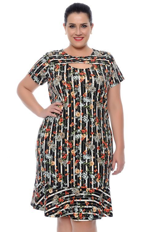624913e67 Vestido Plus Size Floral Malha