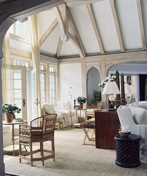 White-washed Beams And Painted Ceiling Lighten A Tudor