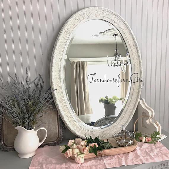 Bathroom Mirror Shabby Chic White Distressed Vanity Mirror ...