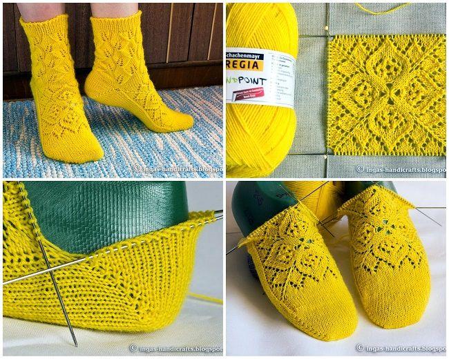 Вязаные носки спицами со схемами