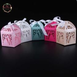 50pcs laser cut bride and groom wedding candy box
