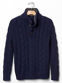 Cable knit sherpa sweater
