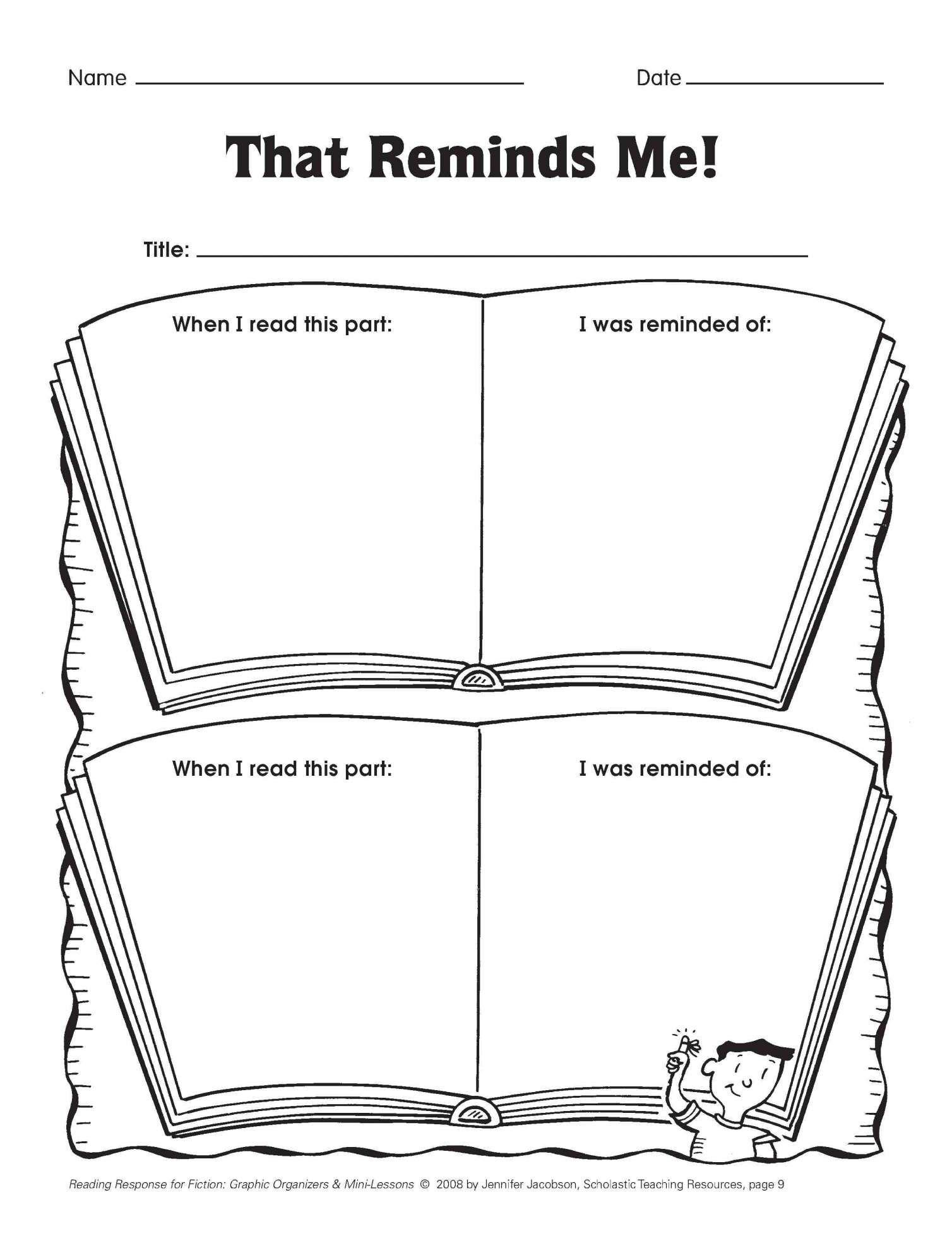 7 Reading Response Worksheet 1st Grade