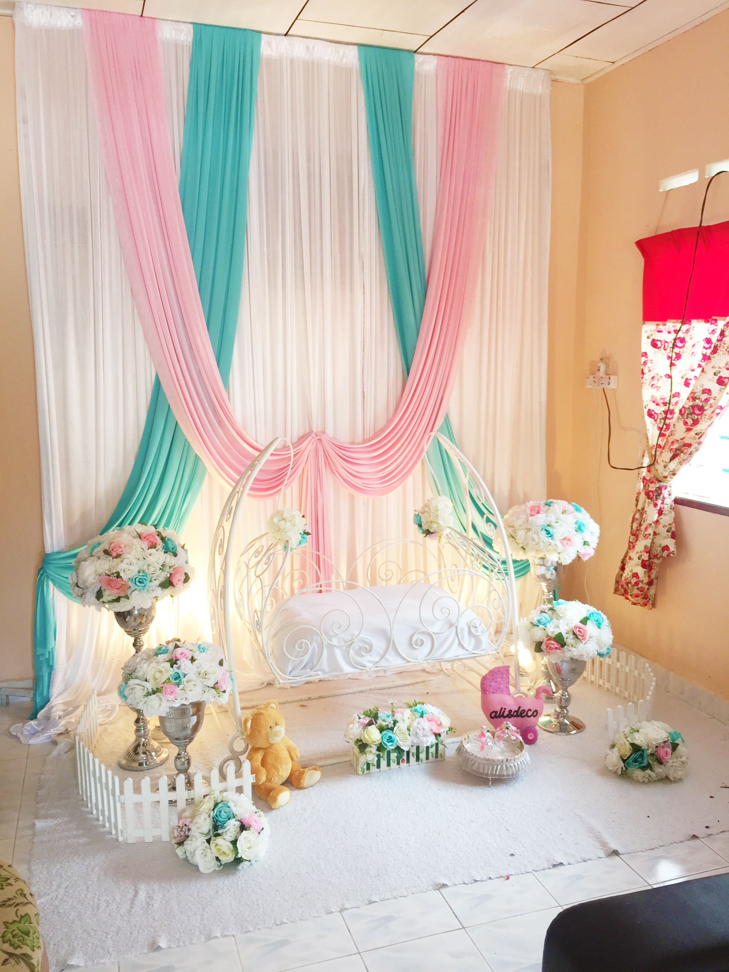 Decoration baby cradle for naming ceremony pelamin buaian for Baby cradle function decoration