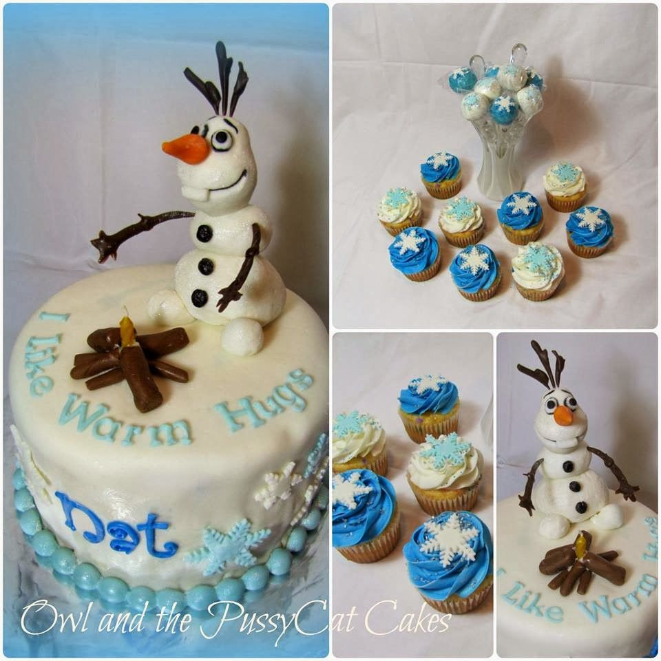 Frozen Olaf birthday cake cupcakes and cake pops Bday Baby