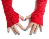 gloves, Fingerless gloves,gift,crocheted Fingerless gloves,red gloves,long,2013 Trends,Crocheted
