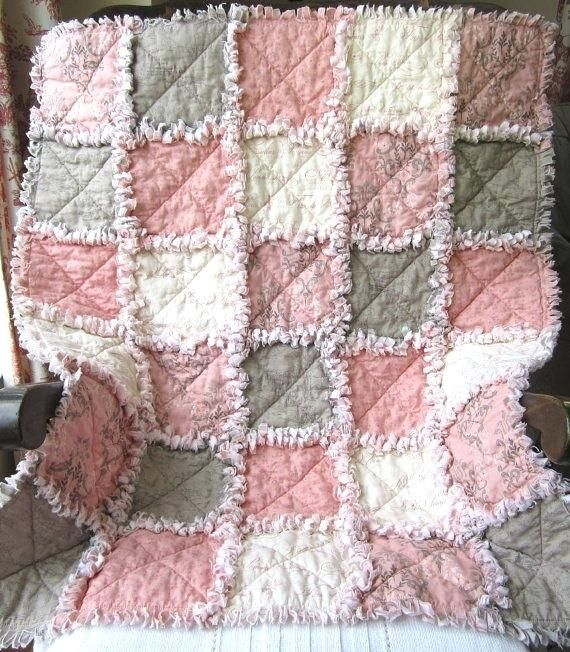 french country baby girl quilt rag quilt pink gray baby