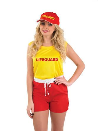 LIFEGUARD fancy dress T SHIRT girly WOMENS LADY FIT beach PARTY baywatch PINK