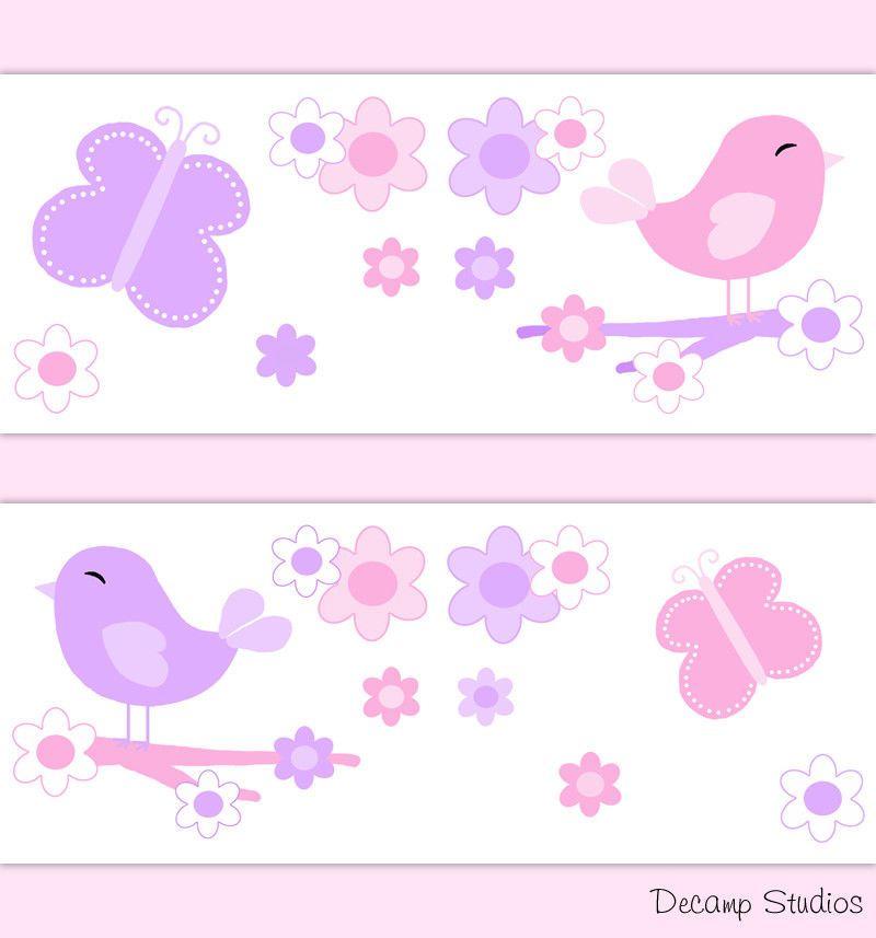 Butterfly Chickadee Nursery Baby Girl Wallpaper Border Wall Art Decals Kids Room