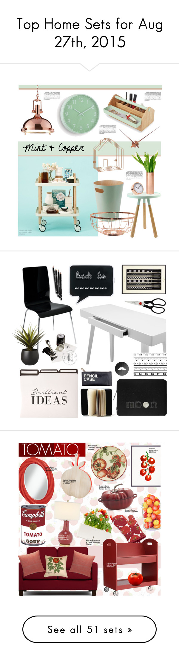 """""""Top Home Sets for Aug 27th, 2015"""" by polyvore ❤ liked on Polyvore featuring interior, interiors, interior design, home, home decor, interior decorating, Normann Copenhagen, Umbra, Karlsson and Kate Spade"""