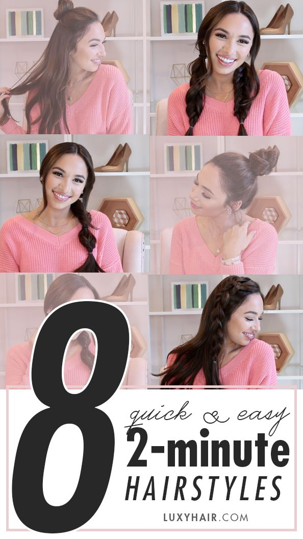 8 Super Quick Easy 2 Minute Hairstyles Hair Tutorials How To