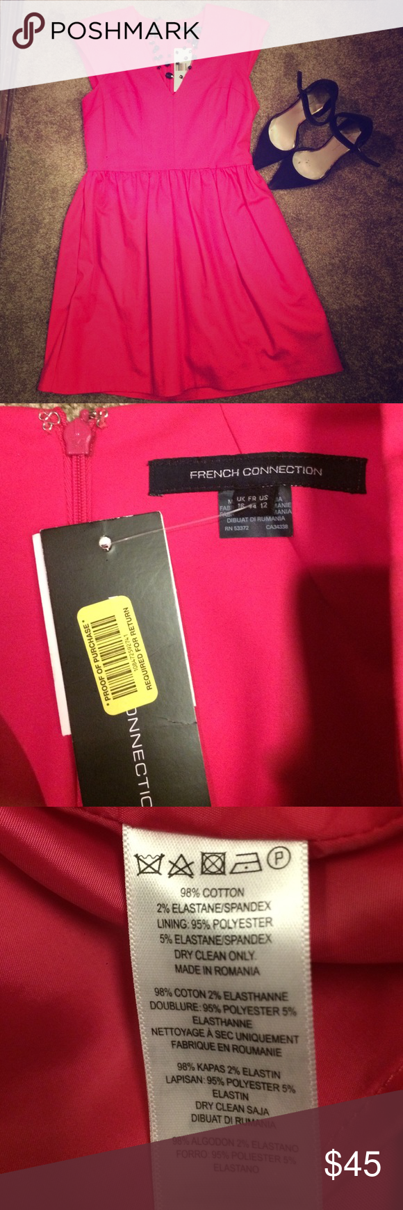French connection dress size 12 This French connection dress is fully lined, sexy hot pink dress . It's reposhed and never worn, just isn't my style. French Connection Dresses Midi