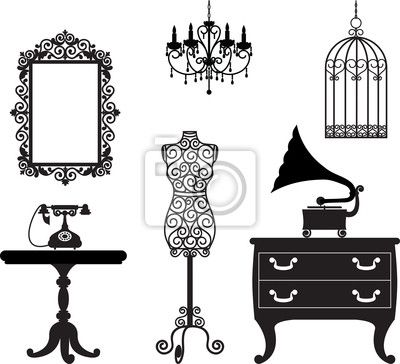 Antique Furniture Royalty Free Cliparts, Vectors, And Stock Illustration. - Vintage Fashion Stickers Prikhnenko Wall Decal Number 45841311