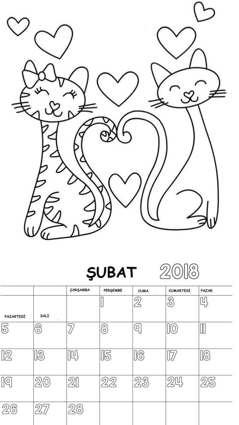 2018 Yılı Takvimi Boyama Sayfaları 12 Ay Elişleri School