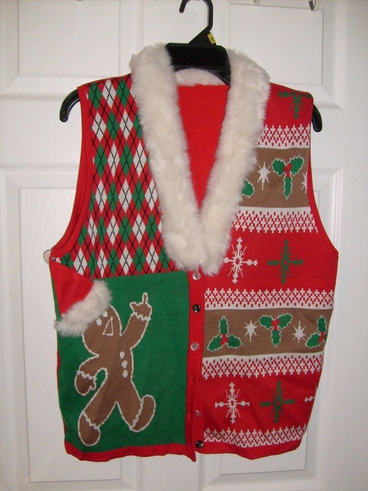 Spencers Ugly Christmas Sweaters.Ugly Christmas Sweater Vest Adult Humor Gingerbread Man