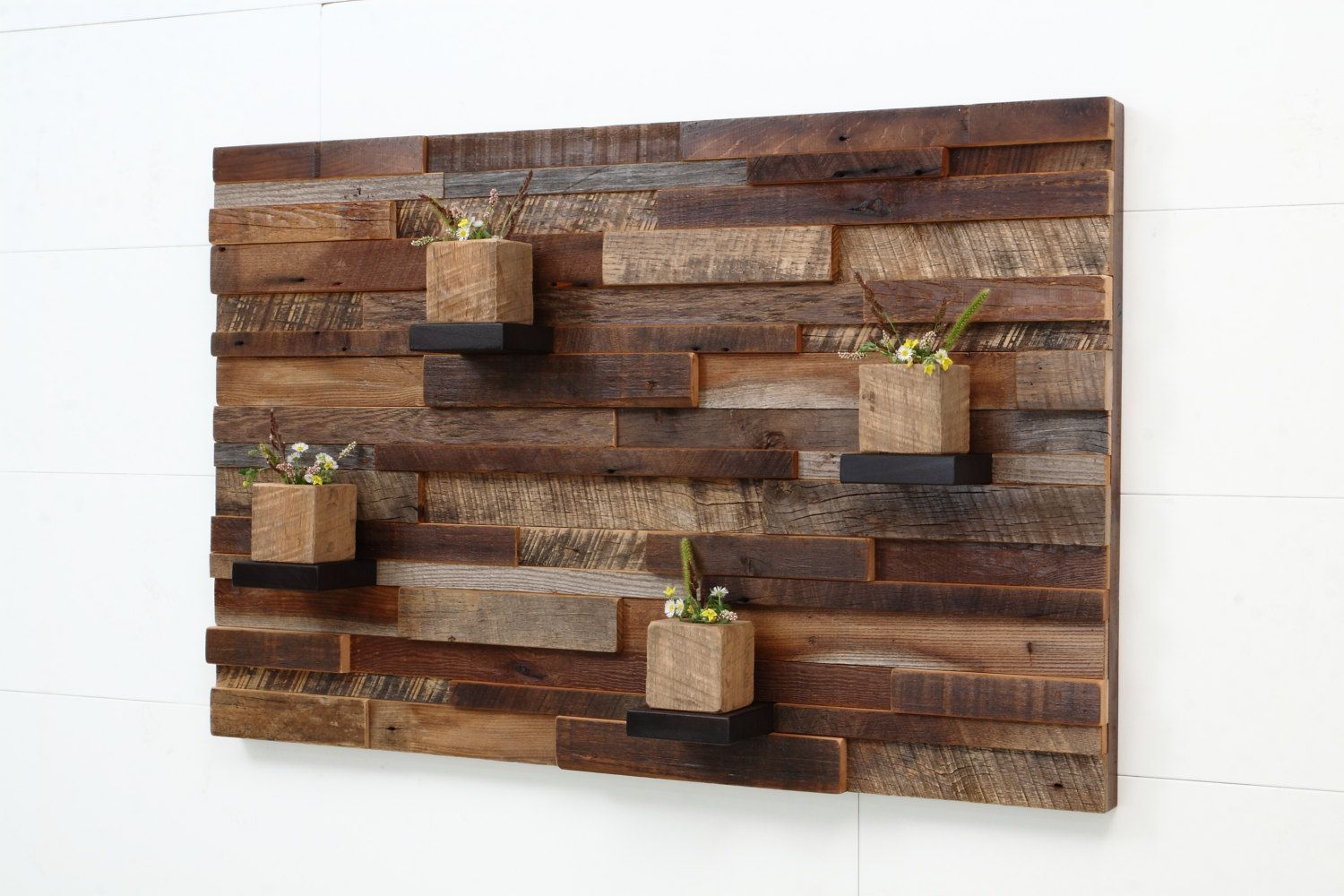 Reclaimed wood wall art with shelves reclaimed wood wall art and