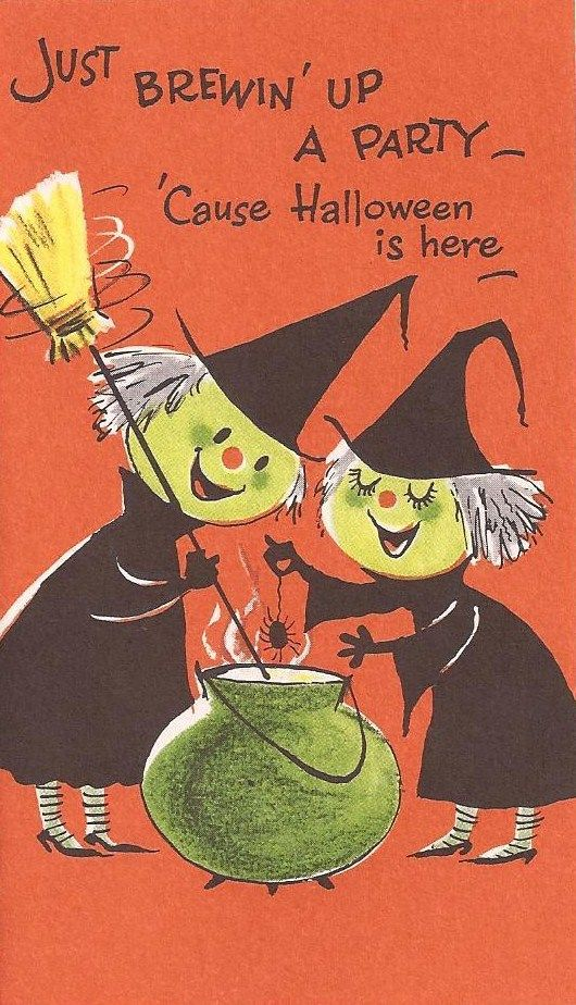 Vintage Halloween party Invitation with two cute witches ...